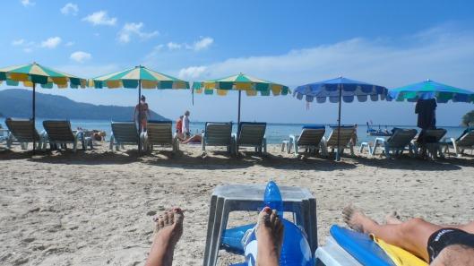 Obligatorisk fotbild på stranden