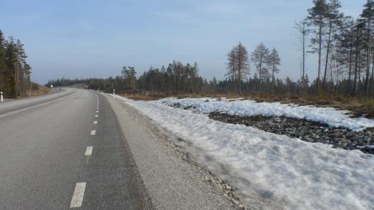 Längre norrut var det fortfarande snö i dikeskanten